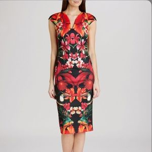 Size 3 Ted Baker tropical Body-con dress